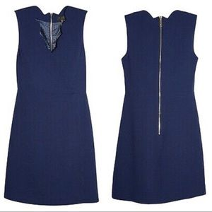 TED BAKER Navy Blue Furnaed Scallop Shift Dress